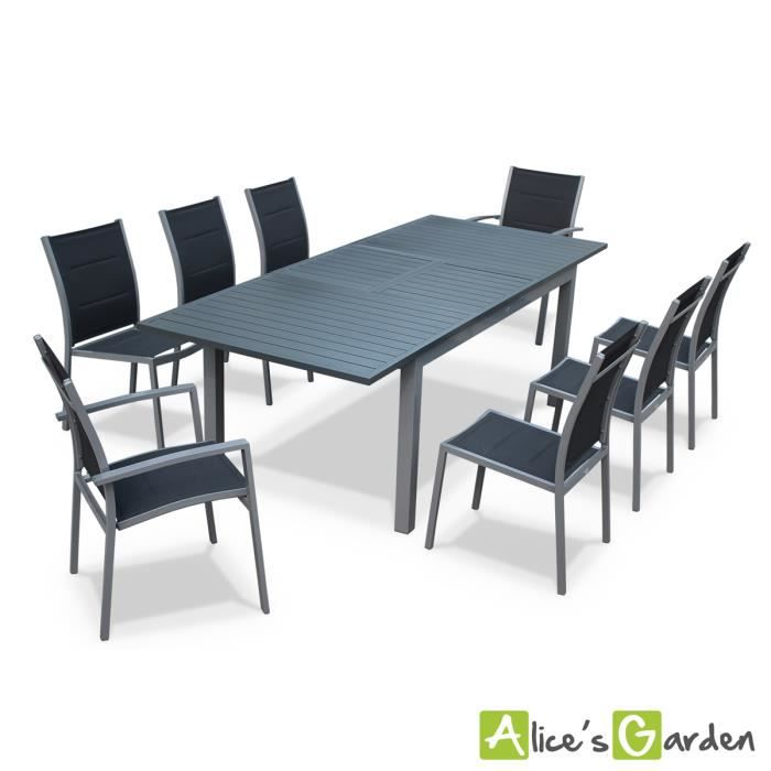 Salon de jardin 8 places table rallonge exten achat for Table jardin 8 personnes