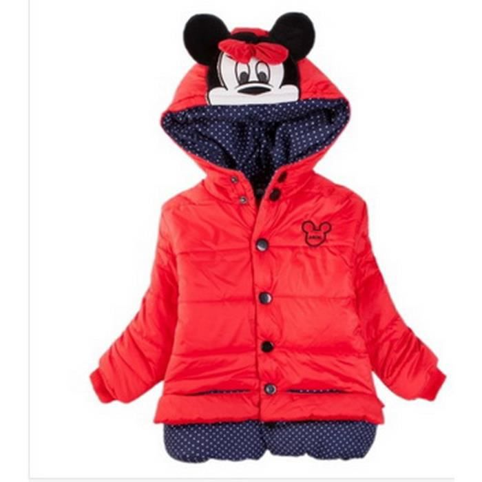 5 ans doudoune manteau blouson veste fille capuche minnie mouse doublee fourrure rouge neuve. Black Bedroom Furniture Sets. Home Design Ideas