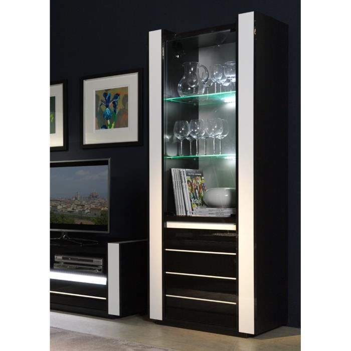 vitrine petit mod le lina noir et blanc avec led achat vente vitrine argentier vitrine. Black Bedroom Furniture Sets. Home Design Ideas