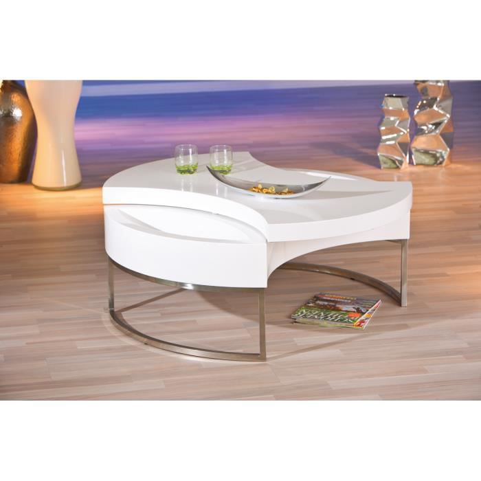 table basse ronde avec rangement coloris blanc et acier. Black Bedroom Furniture Sets. Home Design Ideas