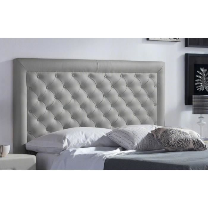 t te de lit pu marco couleur gris clair mesure lit. Black Bedroom Furniture Sets. Home Design Ideas
