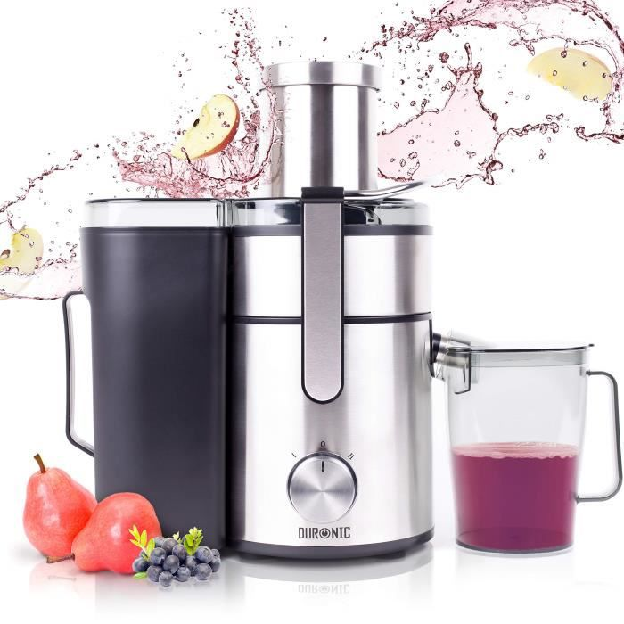 duronic je10 centrifugeuse compacte large en inox pour fruits entiers avec carafe 2 ans de. Black Bedroom Furniture Sets. Home Design Ideas