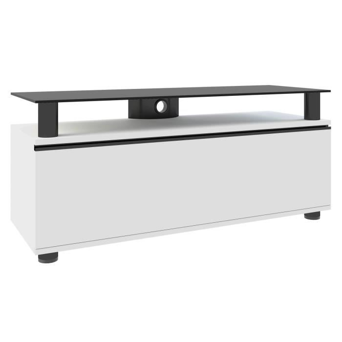 dasano meuble tv hifi vid o rangement 120 cm avec support verre noir porte blanc achat vente. Black Bedroom Furniture Sets. Home Design Ideas