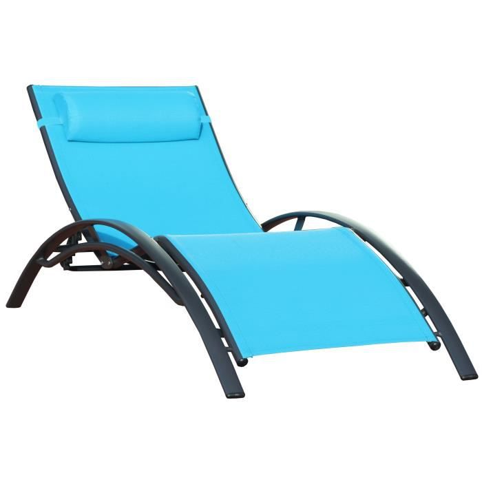 chaise longue de jardin vague turquoise x1 achat vente chaise longue transat chaise. Black Bedroom Furniture Sets. Home Design Ideas