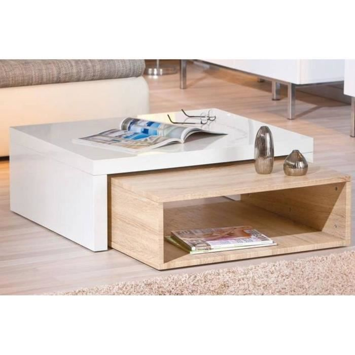 Table basse design zola blanche et ch ne achat vente for Table basse blanche design