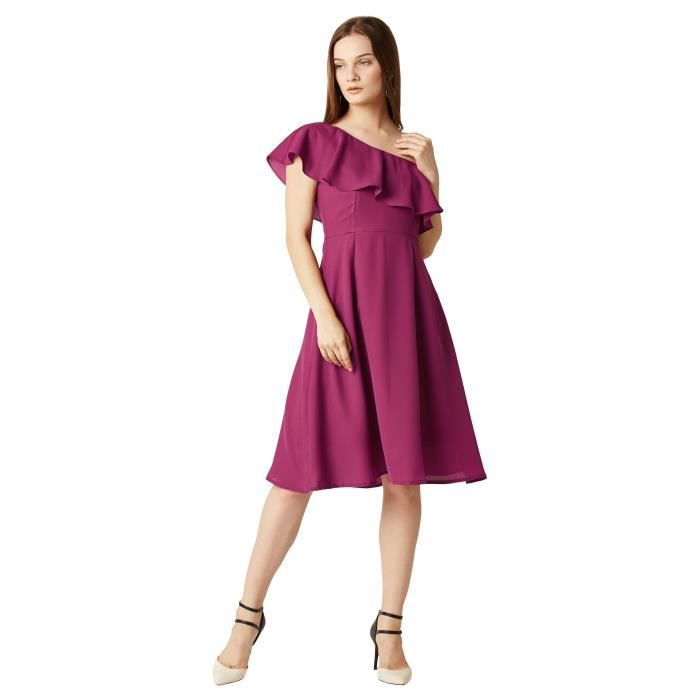 Womens Magenta One Shoulder Sleeveless Solid Knee-length Ruffled Dress HMHO4 Taille-32