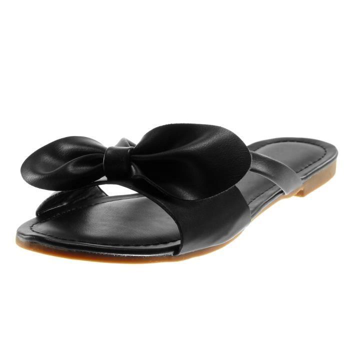 Chaussure Mode Mule Sandale Slip-on Femme Noeud lani/ère Talon Bloc 1.5 CM Angkorly