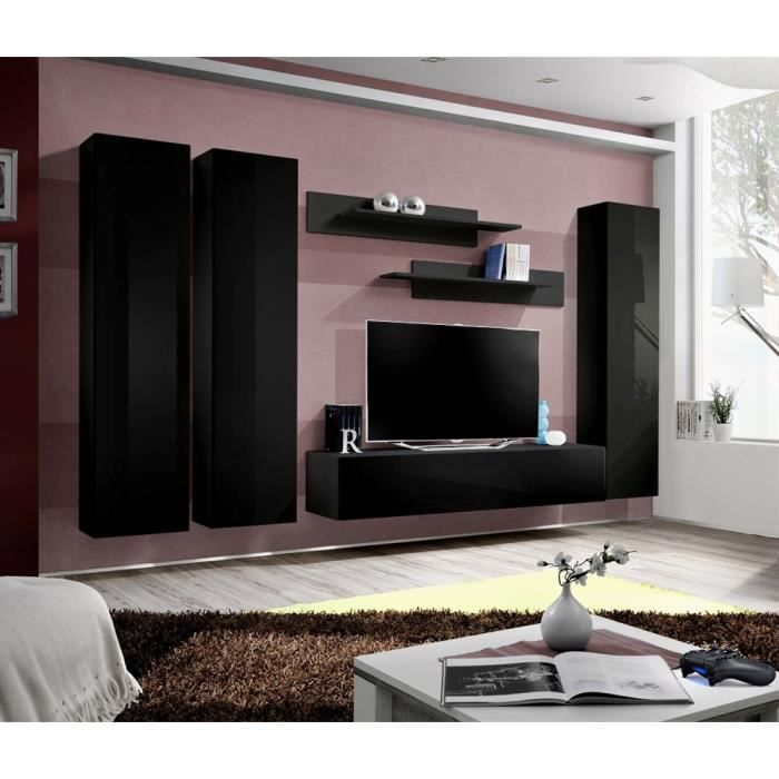 meuble tv fly c1 noir noir laqu achat vente meuble tv meuble tv fly c1 noir noir cdiscount. Black Bedroom Furniture Sets. Home Design Ideas