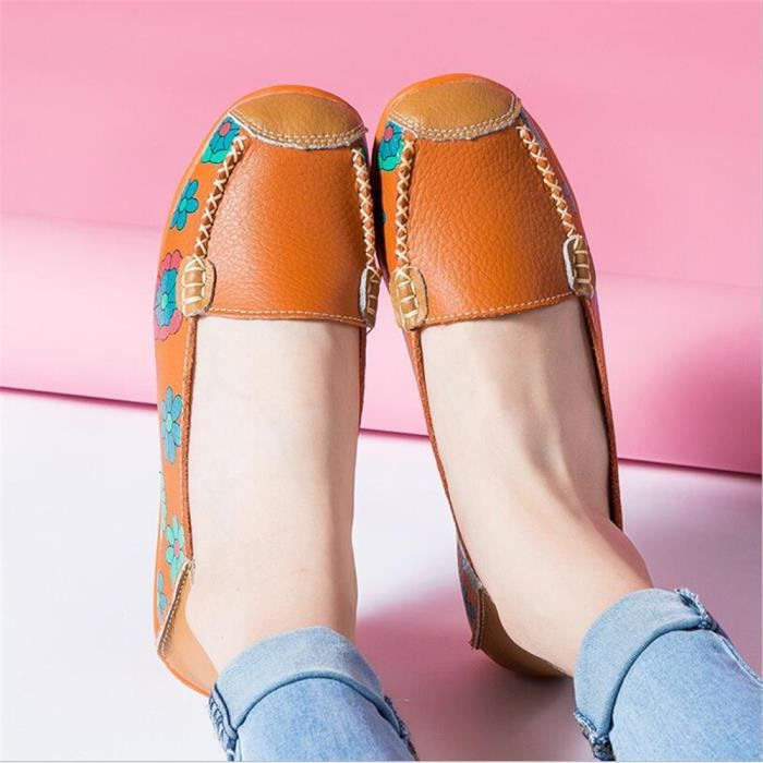 Mocassins Cuir xz056orange43 Ete Printemps Femmes Chaussures Mmj Orange SvOrSwq