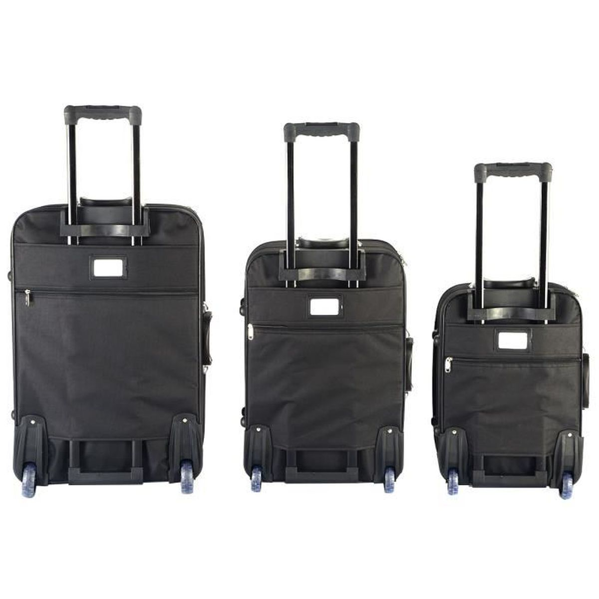 set de 3 valises trolley bagages voyage souples 2 roues. Black Bedroom Furniture Sets. Home Design Ideas