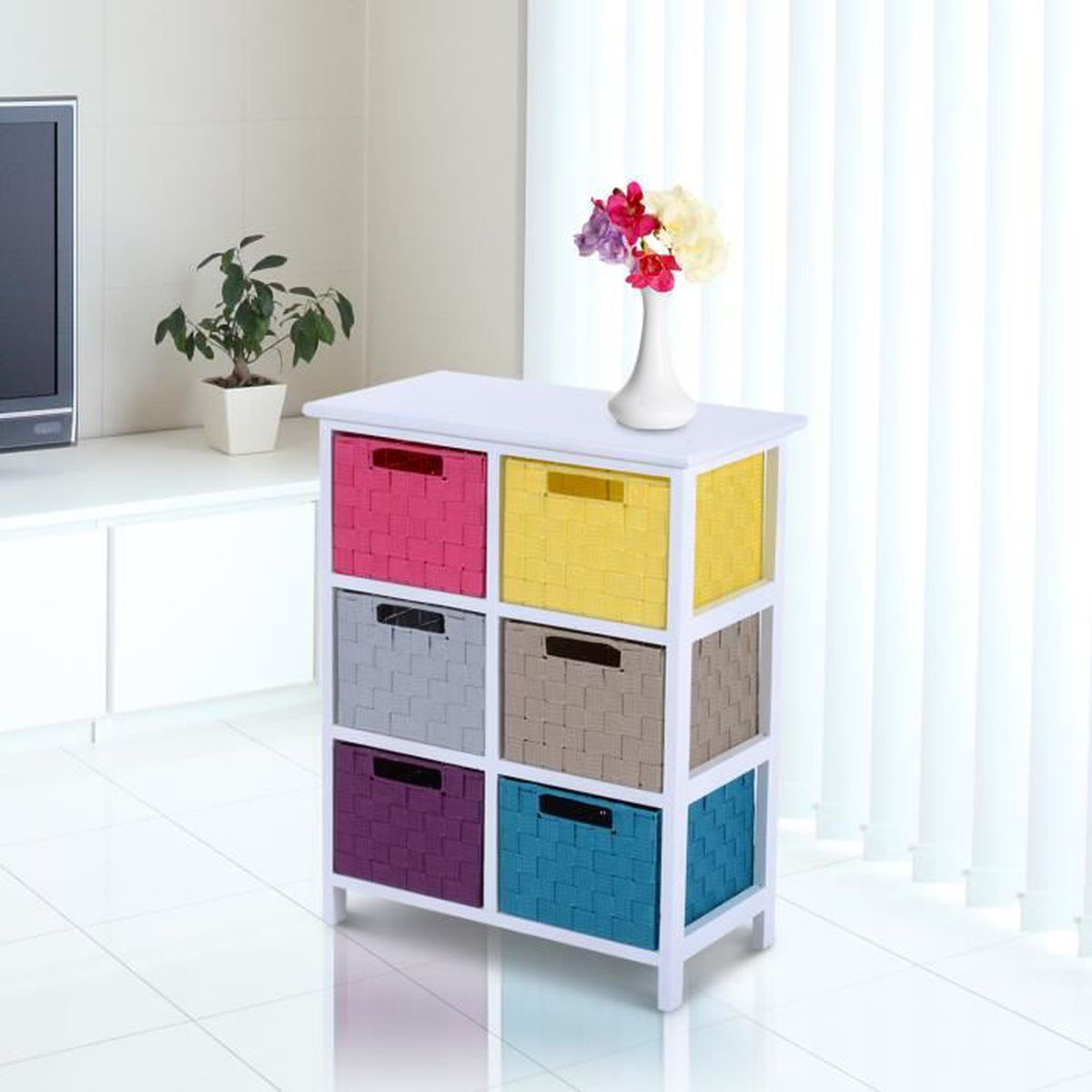 chiffonnier commode bois de paulownia 6 tiroirs multicolores 54l x 29l x 67hcm neuf 18 achat. Black Bedroom Furniture Sets. Home Design Ideas