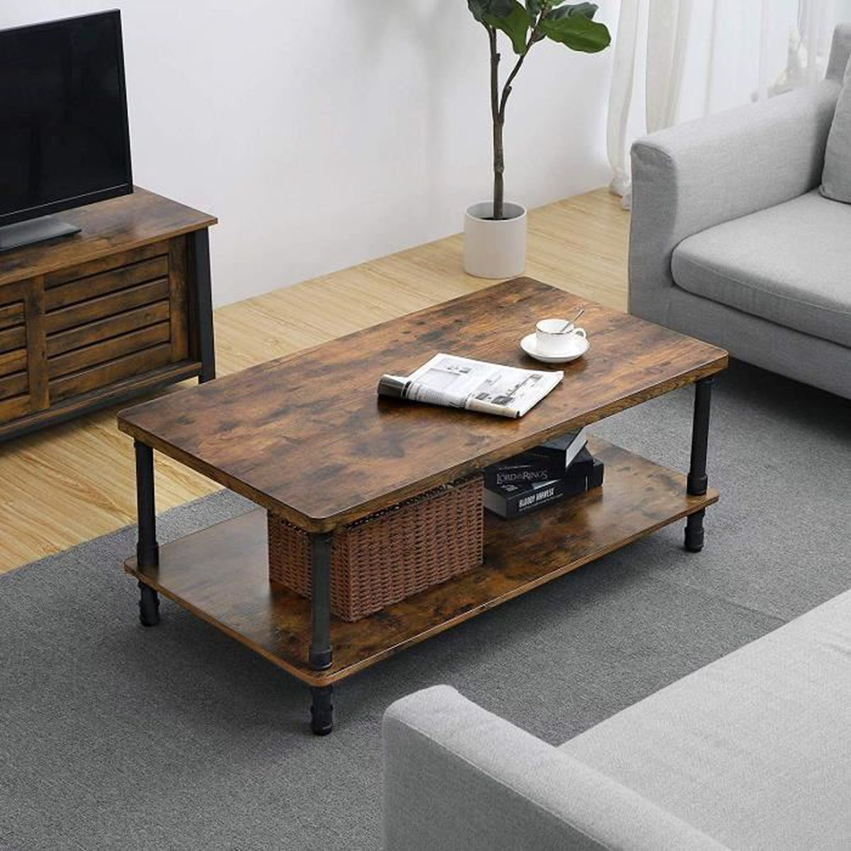 TABLE BASSE VASAGLE Table Basse Style Industriel Table d'appoi