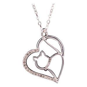SAUTOIR ET COLLIER Collier pendentif chat dans coeur argenté avec str