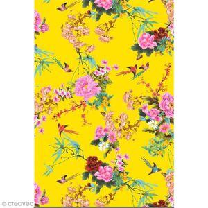 Feuille décopatch Décopatch N° 750 - Motif Fleurs et Oiseaux sur fon