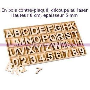 BOIS à GRAVER Chiffres et lettres alphabet Bois contre-plaqué, h