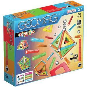 ASSEMBLAGE CONSTRUCTION GEOMAG Blocs magnétiques Confetti 32 éléments GEO-