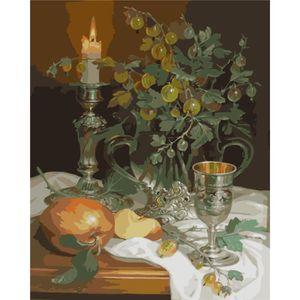 TABLEAU - TOILE (Non encadré) Frameless Vintage Fruit and candleli