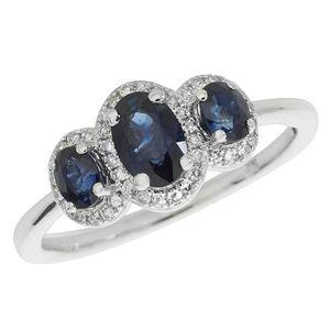 BAGUE - ANNEAU Bague Femme Trilogie Or Blanc 375-1000 et Diamant