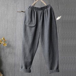 PANTALON Femmes Ladies Pocket Lin coton Casual et loose en