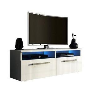 MEUBLE TV Meuble TV coloris blanc mat - blanc laqué avec LED
