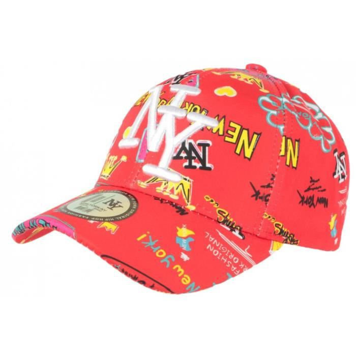 Casquette NY Rouge et Jaune Fashion Streetwear Baseball Crown - Taille unique - Rouge