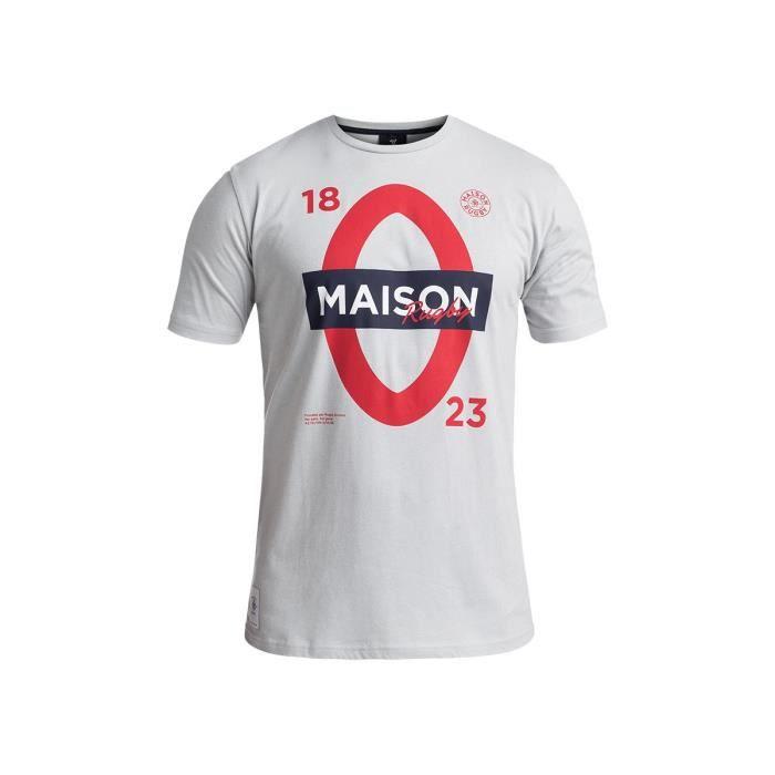 RUGBY DIVISION - Tee shirt manches courtes LONDON gris clair 100% coton