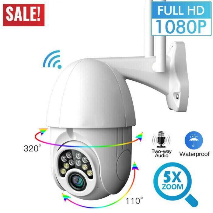 CCTV Caméra IR de Surveillance 1080P HD- WIFI Vidéosurveillance Extérieur Sans Fil Caméra IP-Vision Nocturne-Vocal bidirectionnel