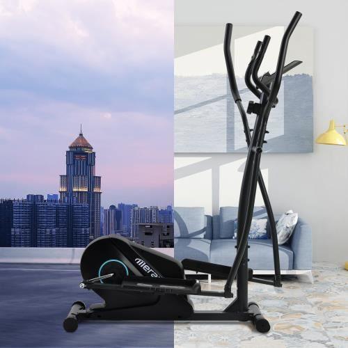 Vélo elliptique, écran LCD et support de téléphone, Pédale antidérapante,8 niveaux de résistance et mouvement bidirectionnel
