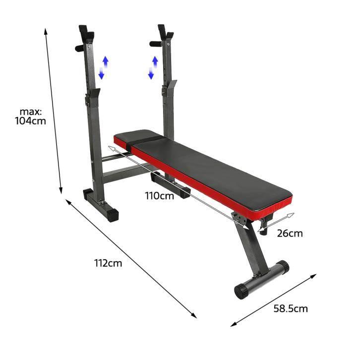 Banc de Musculation avec Support d'haltères - Banc Pliable Réglable, Charge max. 200kg - Banc de Poids, d'Entraînement(Noir et rou
