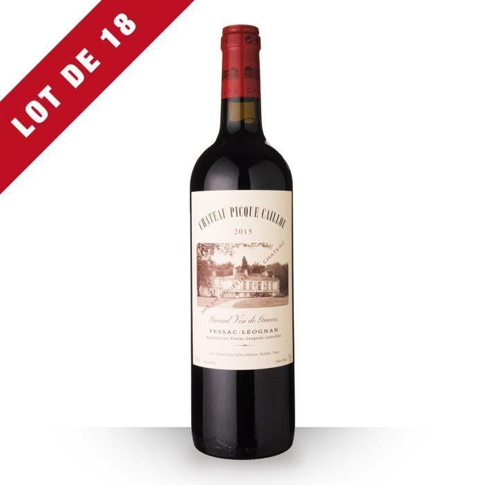 Lot de 18 - Château Picque Caillou 2015 AOC Pessac-Léognan - 18x75cl - Vin Rouge