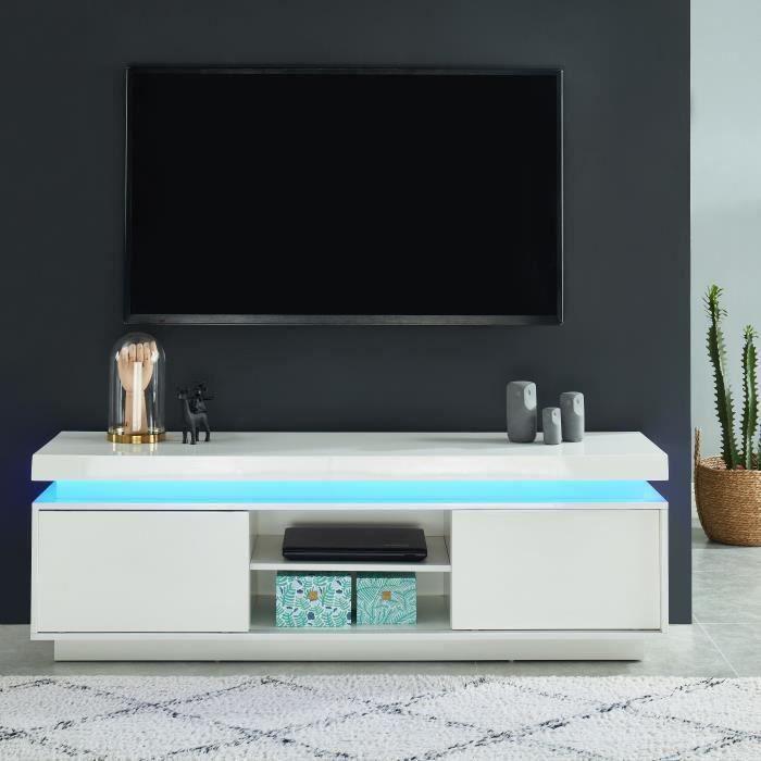 ULYSSE Meuble TV à LED - blanc laqué brillant - L 150cm