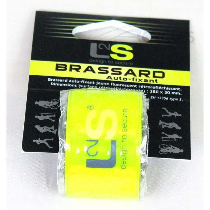 Brassard L2S Auto Fixant Jaune Fluorescent Rétroréfléchissant