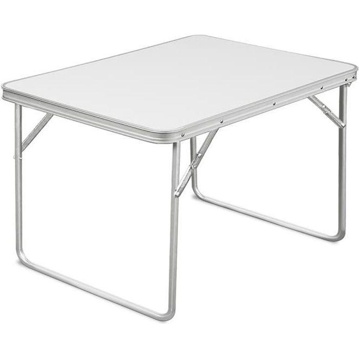Table de camping pliable en aluminium - Table Jardin Terrasse 80 x 60 x 68 cm