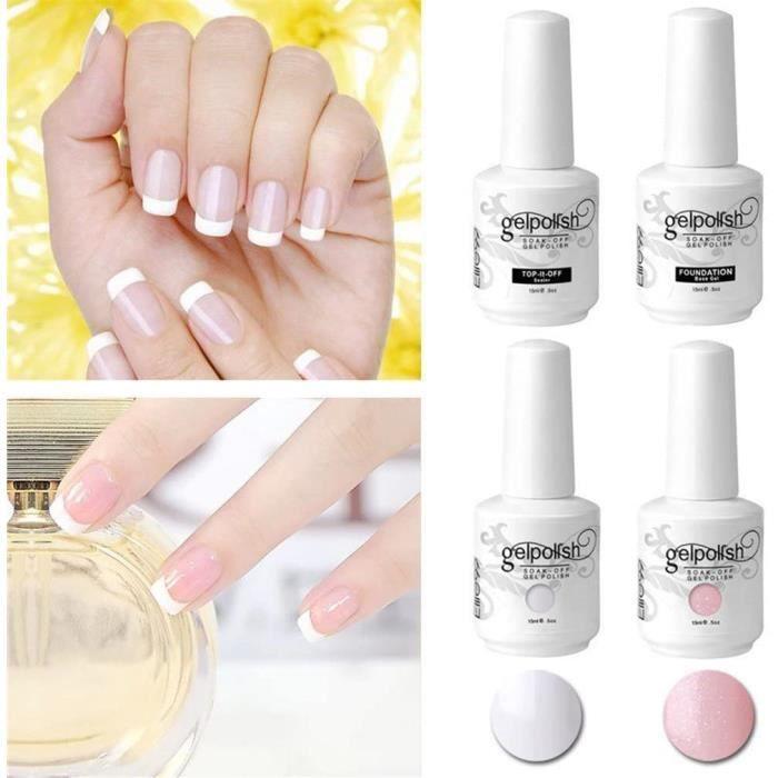 Elite99 Vernis Semi Permanent French Manucure Gris Rose - Gel UV Nail Art 15ml*4 avec Tip Guides[687]
