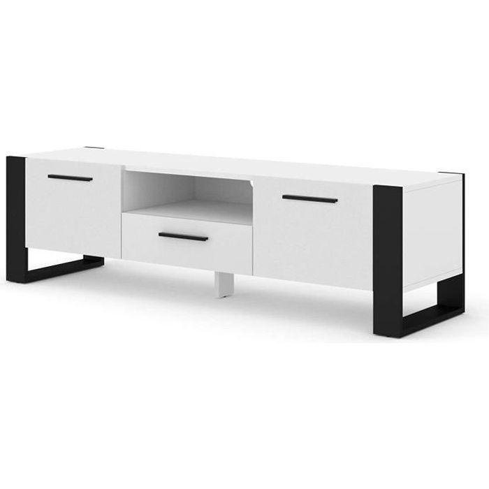 Meuble TV Stand Hi-Fi Nuka 160 cm Blanc Mat Salon Commode