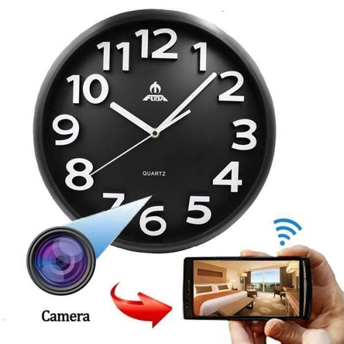 1080P WiFi Caméra espion Round Horloge murale Caméra Spy Clock caché alarme caméra de surveillance Nanny Clock Blanc