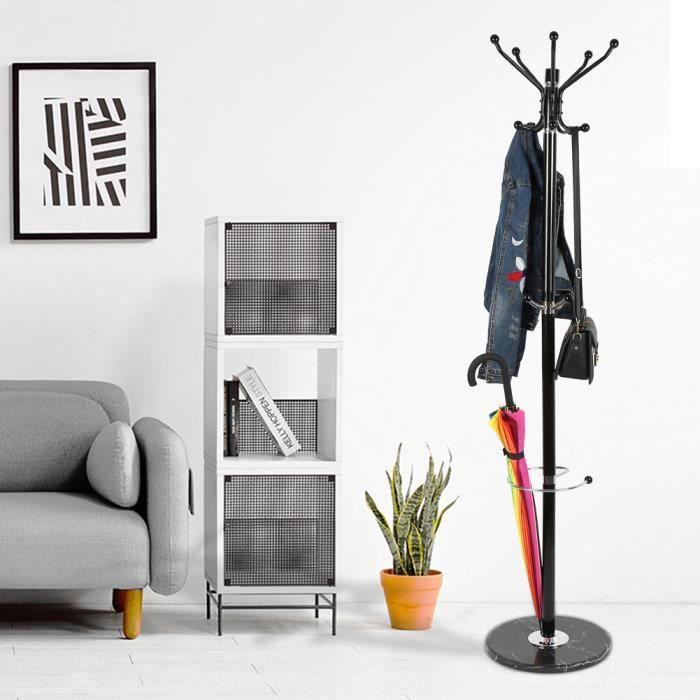 Porte-Manteau en métal design sur pied support manteau avec Support parapluie- 170cm