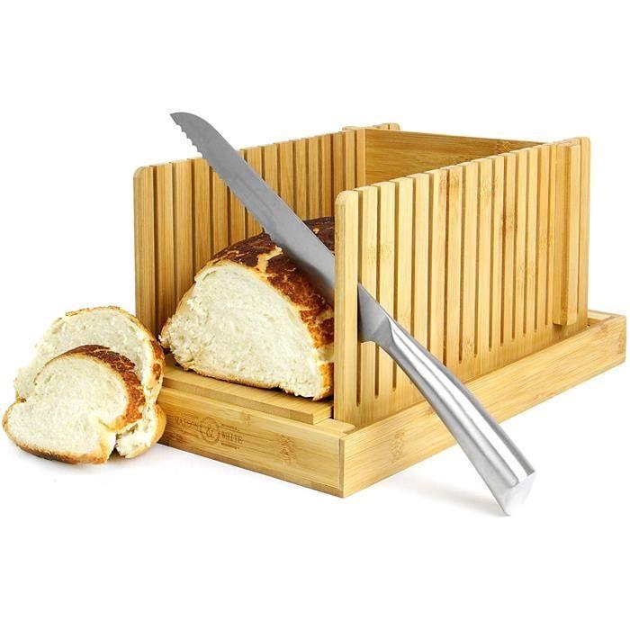 PLANCHE A DECOUPER Maison White Trancheur agrave pain en bambou Planche agrave deacutecouper et guide pour trancher les coute317