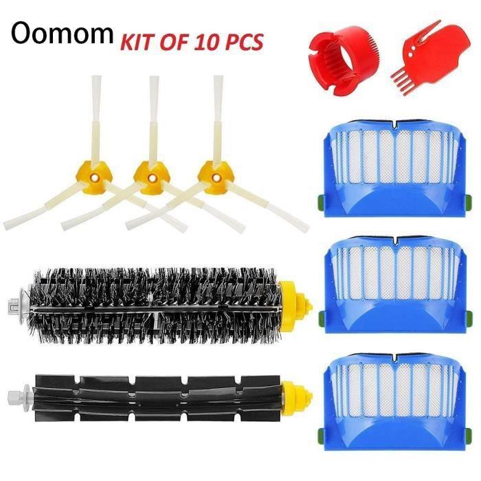 Oomom Kit Brosse pour iRobot Roomba Serie 600 - Kit de 10 Pcs Accessoires(Brosse Laterale,Filtres,etc..)pour Aspirateur Robot