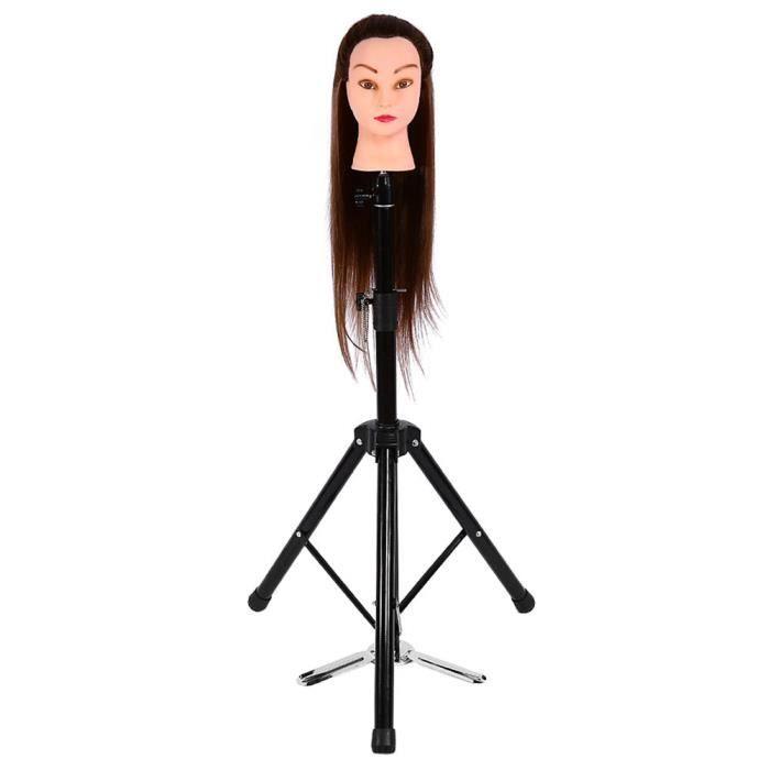 TUB Support de tête, mannequin de formation de coiffure trépied pince cheveux perruque support de tête outil de support noir