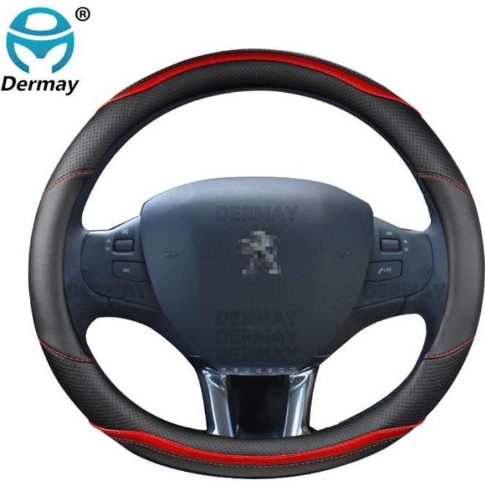 Couvre volant,Pour Peugeot 208 2012 ~ 2018 couverture de volant de voiture en fibre de carbone + cuir haute qualité - Type Rouge