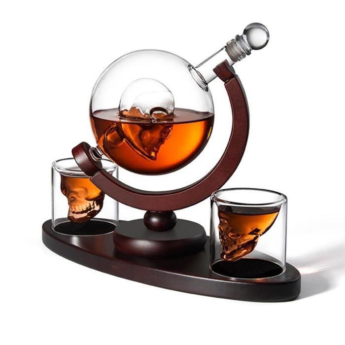 Carafes vin,Décanteur bouteille de Whisky cristal, tête de mort, Vodka Globe avec 2 verres, distributeur de liqueur bouteille de