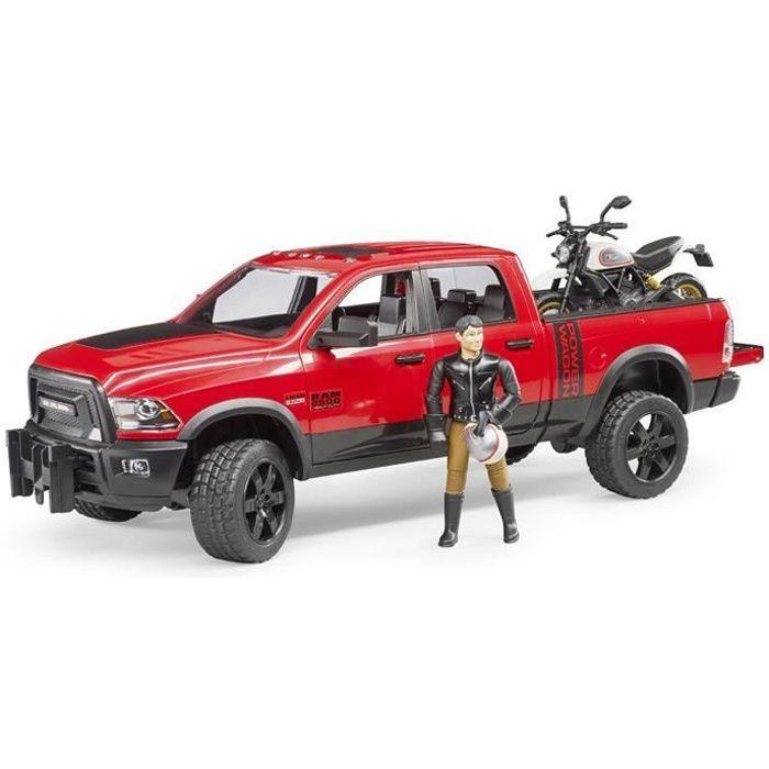 BRUDER 2502 Véhicule Ram 2500 Power Wagon avec moto Scrambler Ducati Desert Sled et personnage