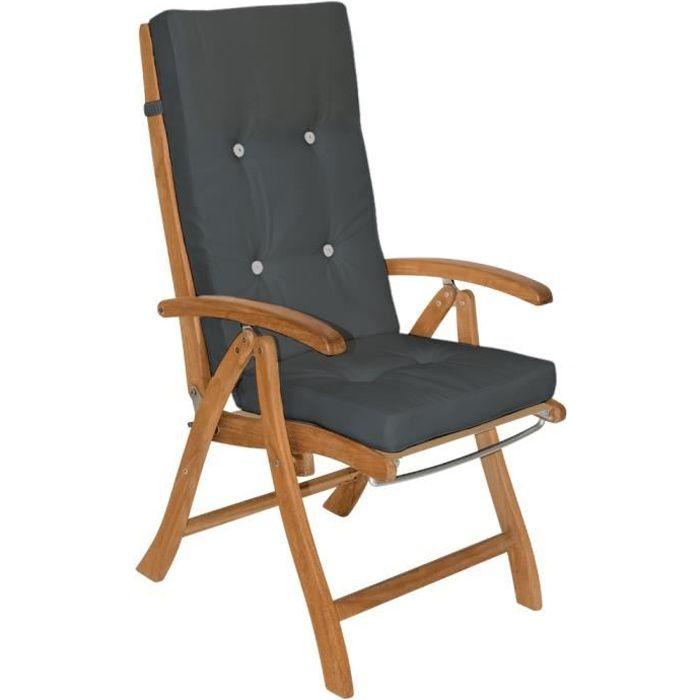 6x Coussin De Chaise -Chaise à Dossier Haut Gris