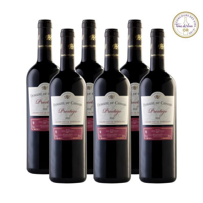 Domaine du Cassard Rouge Prestige - Blaye Côtes de Bordeaux Rouge - Médaillé « Or » concours Terre des Vins - Lot de 3 bouteilles