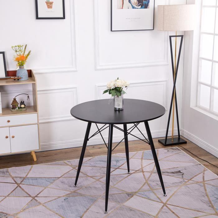 Table ronde scandinave noir - 80 x 80 x 75 cm