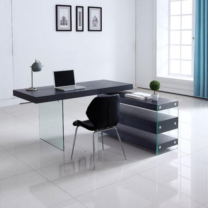 Bureau design en verre avec retour et caisson Dixon - Couleurs - Wengé