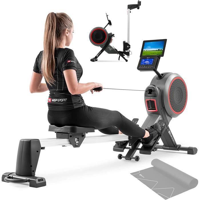HS Hop-Sport Rameur d'appartement air-magnétique HS-100AR Roam - Pliable - Ordinateur d'entraînement - Tapis d'amortissement