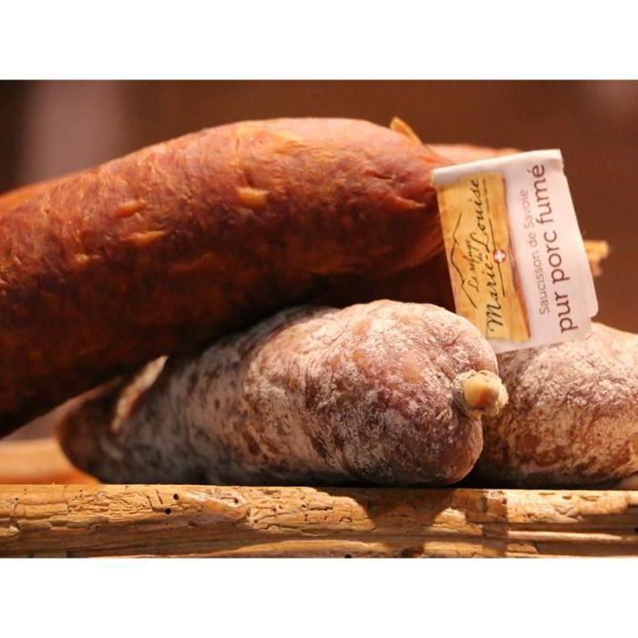 LOT DE 4 SAUCISSONS DE SAVOIE : 2 pur porc et 2 fumé
