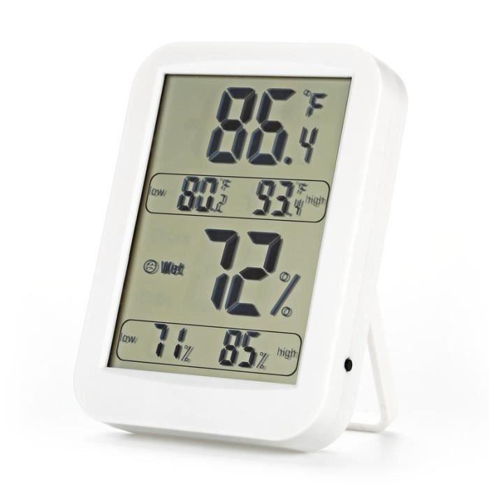 Thermo-hygromètre électronique, Thermomètre Hygromètre Intérieur sans fil, Écran LCD digital pour l' affichage de température